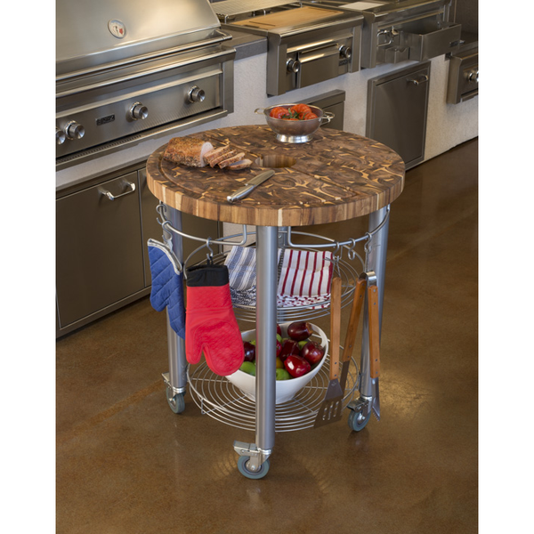 Chris & Chris Pro Stadium Grill Kitchen Cart with Round Butcher Block Top - Acacia Wood -  - 1