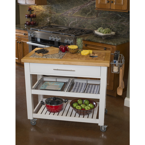 Chris & Chris Pro Chef Kitchen Island Prep Station - White -  - 1