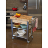 Chris & Chris Pro Stadium Kitchen Island Cart with Butcher Block - Natural - 1