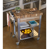 Chris & Chris Pro Stadium Kitchen Island Cart with Butcher Block - Brown/Acacia - 6