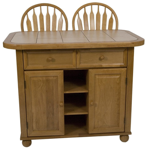Sunset Trading 3 Piece Light Oak Small Kitchen Island Set with Tile Top