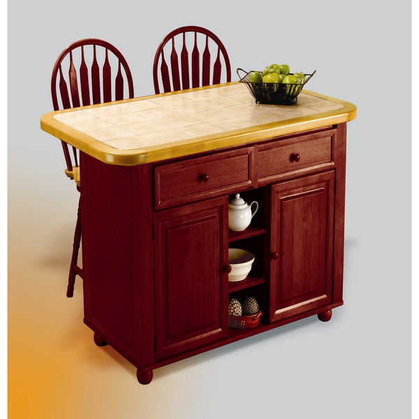 Sunset Trading 3 Piece Nutmeg Small Kitchen Island with Light Oak Trim and Tile Top