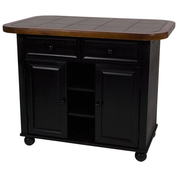 Sunset Trading Antique Black Small Kitchen Island with Inlaid Gray Granite Top