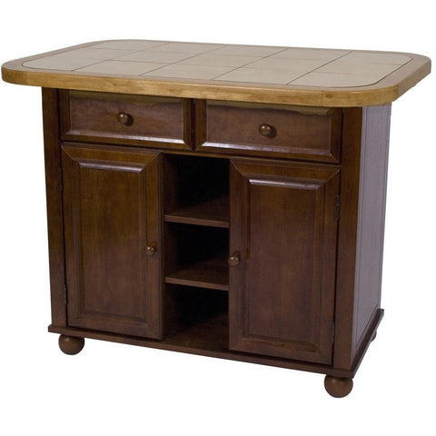 Sunset Trading Nutmeg Small Kitchen Island with Light Oak Trim and Tile Top