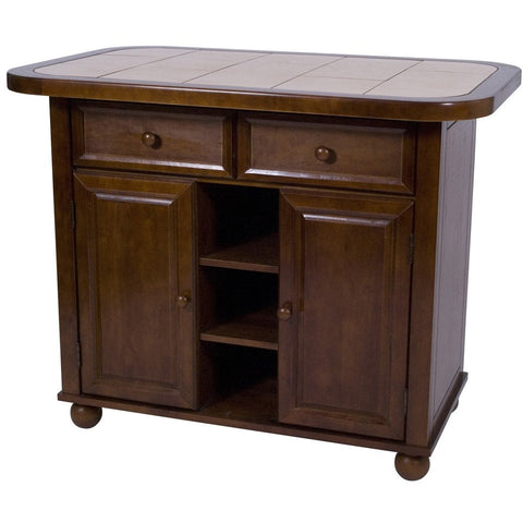 Sunset Trading Nutmeg Small Kitchen Island with Tile Top