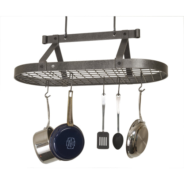Enclume Oval Ceiling Pot Rack with Grid - Free Hooks - 3 foot / Hammered Steel - 2