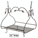 "Stone County Ironworks Gourmet Hand Forged Iron Pot Rack w/ Free Hooks - Small 22"" - 2"