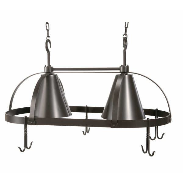 Stone County Ironworks Dutch Oval Iron Lighted Pot Rack - Black Shade -