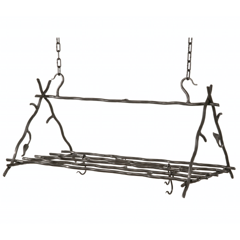 Stone County Ironworks Sassafras Iron Triangle Pot Rack w/ Free Hooks -