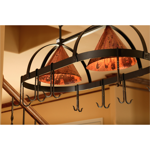 Stone County Ironworks Dutch Oval Iron Lighted Pot Rack - Copper Shade -  - 1