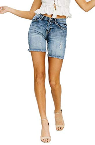 KanCan Jeans Baley-Bea Mid-Rise Frayed Hem Mid Thigh Shorts Medium Wash KC5139M