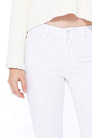 Judy Blue Women's White Mid-Rise Skinny Jeans