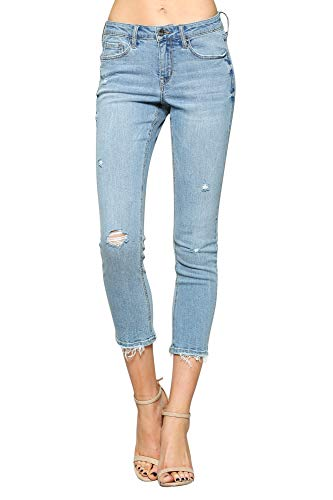 Flying Monkey Vervet Women's Mid Rise Distressed Hem Crop Skinny Jeans