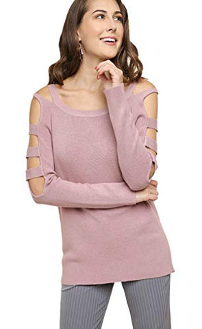 Umgee Women's Long Sleeve Boatneck Pullover Sweater with Lattice Cutout Sleeves