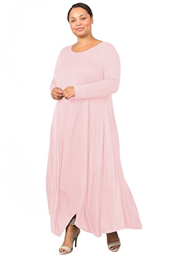 Love In Women's Plus Size Long Sleeve Round Neck Flared Maxi Dress W/Pocket