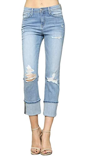 Flying Monkey Women's Light Wash High Rise Distressed Slim Straight Leg Ankle Jeans with Cuffed Hem
