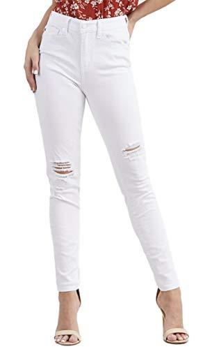 Judy Blue Women's White High Rise Distressed 5 Pocket Skinny Jeans