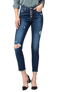Flying Monkey New Jeans Love Game High Rise Exposed Button Fly Ankle Skinny