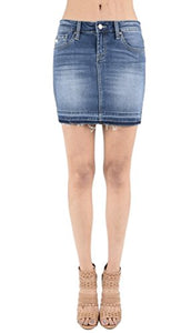 Kan Can Women's Stretch Distressed Denim Mini Skirt with Released Frayed Hem