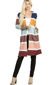 a.gain Women's Long Sleeved Multi-Colored Striped Cardigan with Cheetah Print Contrast Sleeeves