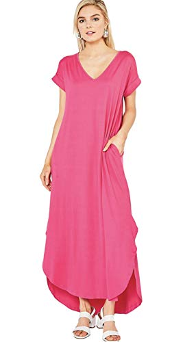 Entro Women's Short Sleeve V Neck Loose Fit Knit Maxi Dress with Hi Low Hem
