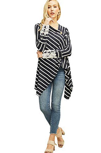 Entro Women's Striped Draped Front Knit Cardigan with Button Closure and Lace Accent Sleeves