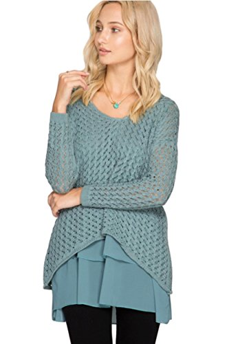 She + Sky Women's Long Sleeve Sweater Tunic with Chiffon Ruffled Hem