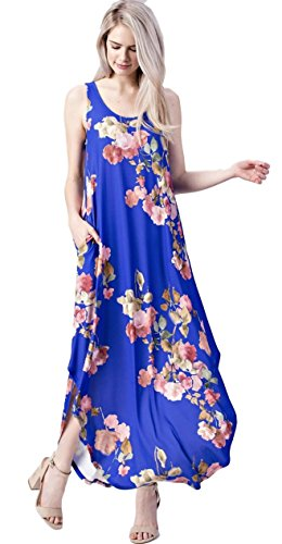 Mittoshop Women's Floral Sleeveless Round Hem Knit Maxi Dress with Pockets