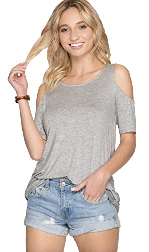She + Sky Women's Short Sleeve Cold Shoulder Top with Open Criss Cross Back