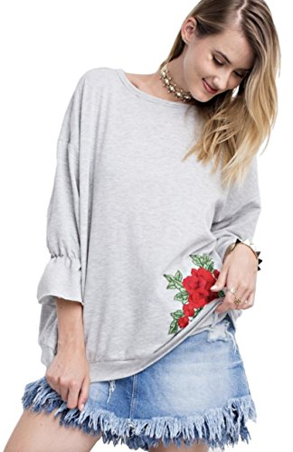 Easel Clothing Women's French Terry Tunic with 3/4 Bubble Sleeves and Rose Embroidered Appliques (Small, Heather Grey)