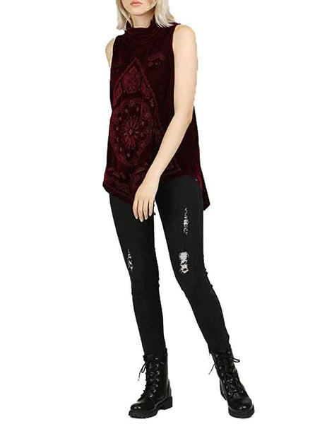 POL Clothing Women's Embroidered Turtleneck Sleeveless Velvet Top with Pointed Hemline