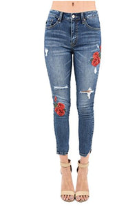 Kan Can Women's High Waist Distressed Frayed Hem Skinny Jeans with Embroidered Roses (0/23)