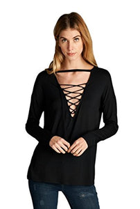 Cherish Women's Long Sleeve Top with Lace-Up Neckline and Choker Detail