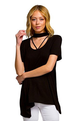 Cherish Women's Short Sleeve Mock Neck Knit Top with Strap Details