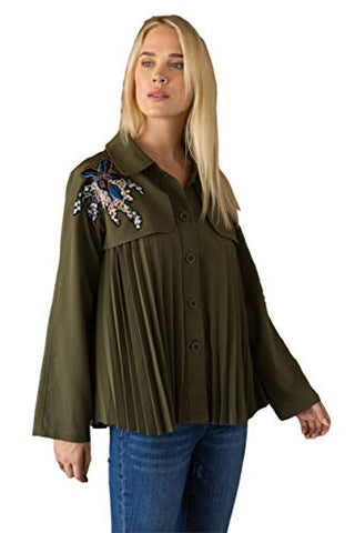 Mystree Women's Pleated Shirt or Short Trench Jacket with Embroidered Yoke