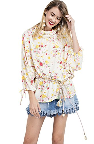 Easel Women's Floral Brushed Knit Oversized Cold Shoulder 3/4 Sleeve Tunic