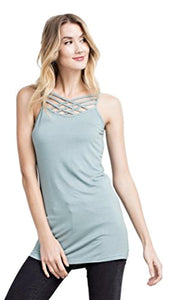 Easel Women's Lattice Criss Cross Front and Back Tunic Length Solid Colored Knit Camisole
