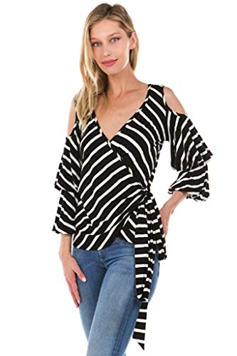 VAVA by Joy HAN Women's Mary WRAP TOP (Blk/Wht)- VT2198