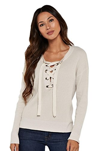 Love Stitch Women's Casual Waffle Knit Super Soft Long Sleeve Pullover Sweater with Lace Up Neckline