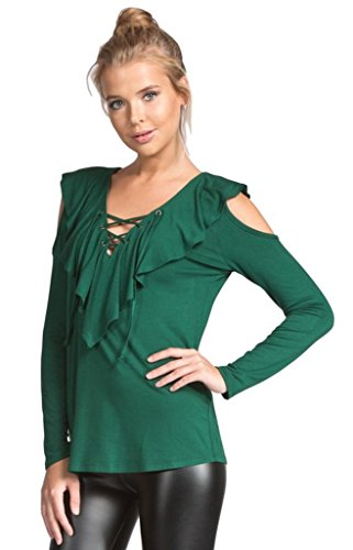 Cherish Women's Long Sleeve Knit Top with Ruffled Lace up Neckline and Cold Shoulders