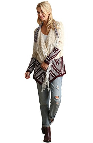Umgee Women's Chunky Knit Multi-Colored Double Breasted Cardigan with Fringe Details (Small, Burgundy Mix)