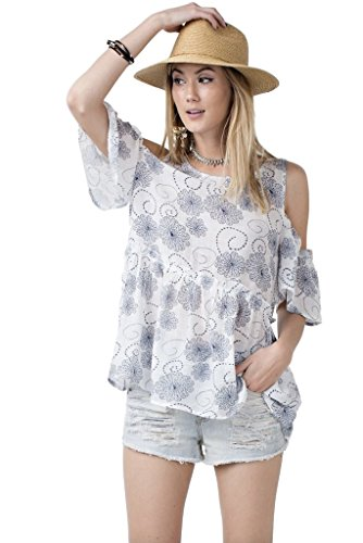 Easel Women's Lightweight Gauze Floral Print Babydoll Tunic with Cold Shoulders