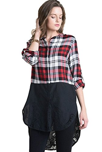 CY Fashion Women's Long Sleeve Plaid Color Block Tunic Shirt with Embroidery