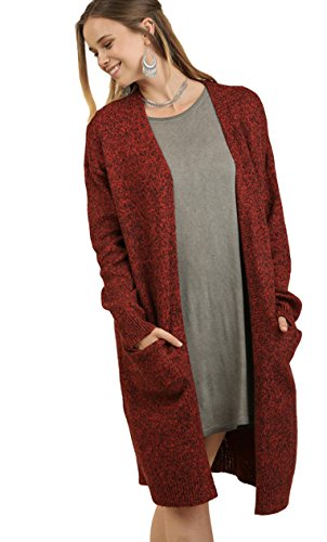 Umgee Women's Heathered Open Front Long Oversized Cardigan Sweater with Pockets