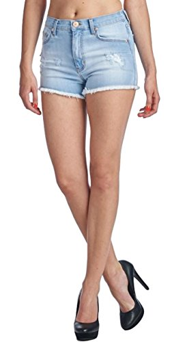 Angry Rabbit Women's Premium Denim High Rise Shorts with Frayed Edge