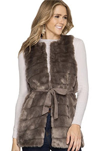 She + Sky Women's Fashion Sleeveless Faux Fur Vest With Faux Suede Sash (Small, Mocha)