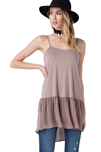 Easel Women's Sleeveless Camisole and Tunic Extender with Chiffon Ruffle Hem and Adjustable Straps