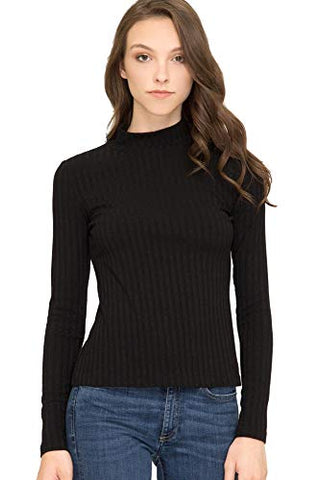 She + Sky Women's Casual Basic Lightweight Rib Knit Long Sleeve Mock Neck Solid Color TurtleneckTop