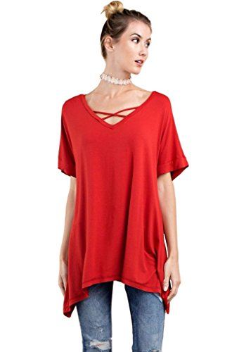 Easel Women's Short Sleeve Knit Tunic with Sharkbite Hem and Strappy Neck Details