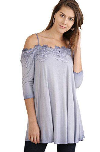 Umgee Women's Mineral Washed Open Shoulder Tunic with Crochet Lace